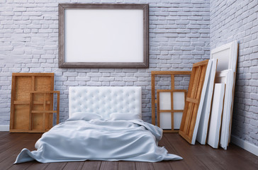 3d render bedroom with a bed and the pictures on the floor and wall. Mockup studio artist.