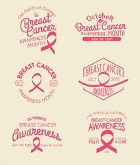 Breast Cancer Awareness Month Hand Drawn Insignia set