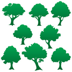 vector green trees isolated