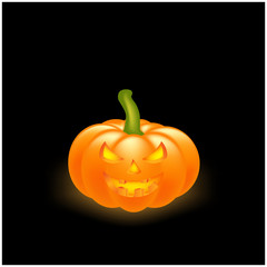 Halloween pumpkin vector illustration, Jack O Lantern isolated on black background. Scary orange picture with eyes and candle light inside.