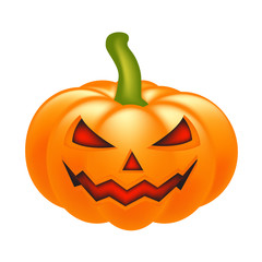 Halloween pumpkin vector illustration, Jack O Lantern isolated on white background. Scary orange picture with eyes and candle light inside.