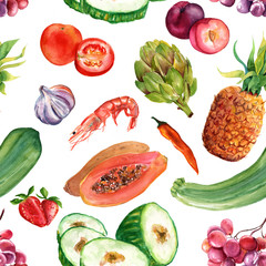 Seamless watercolor healthy food background pattern