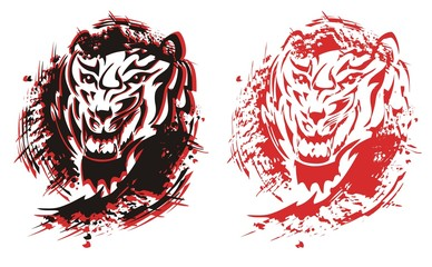 Tribal tiger roar splashes in black and red options