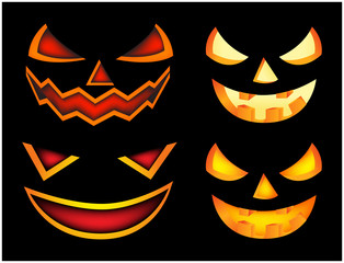 Halloween scary pumpkin face vector illustration set, Jack O Lantern smile isolated on black background. Scary orange picture with eyes in the dark.