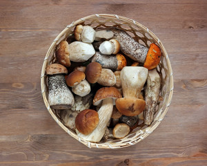 Basket with mushrooms, the top view. Table still life. Boletuses