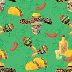 Mexican vector seamless music pattern with skull, sombrero hat, maracas, taco, tequila, lime and chill pepper vector background. Perfect for wallpapers, pattern fills, web page backgrounds, textile