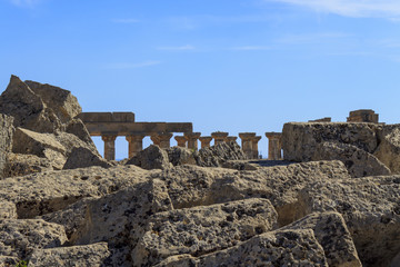 Ruin of Greek Temple Columns - Sicily, Italy