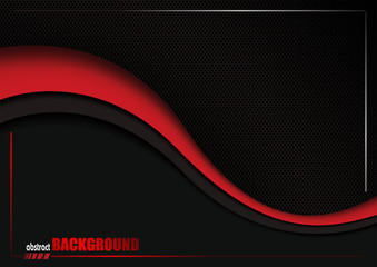 Abstract Background with Black Dotted Grid and Red Wave - Illustration, Vector