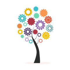 Industrial innovation concept colorful tree made from cogs and gears vector