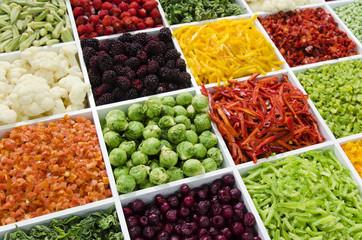 Gemüse und Obst tiefgefroren