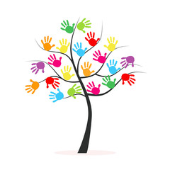 Tree with colorful hand prints vector background