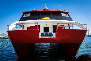 The moored catamaran