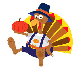 Turkey and Pumpkin - Cartoon turkey holding a pumpkin. Eps10