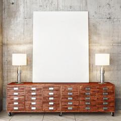 3d render of mock up poster, hipster drawer