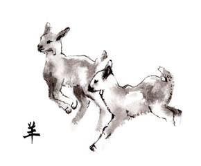 "Playing baby goats oriental ink painting with Chinese hieroglyph ""goat"". Symbol of the new year of goat, sheep."
