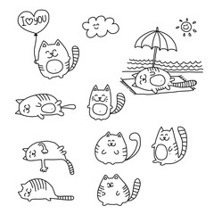 Funny doodle cats sketch.