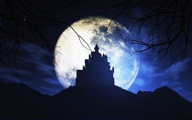 Fototapete - 3D spooky castle against a moonlit sky