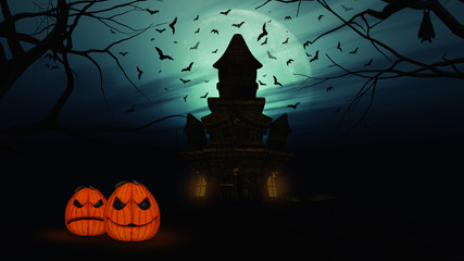 Fototapete - 3D Halloween background with spooky castle and pumpkins