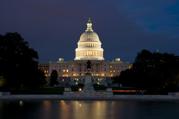 United States Capitol Buidling after sunset, Washington D.C., District of Columbia, USA