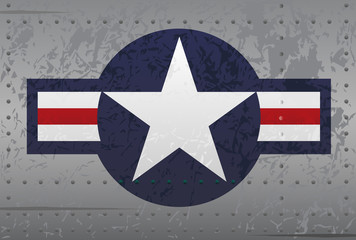 US Military National Aircraft Roundel Insignia Distressed Vector Illustration
