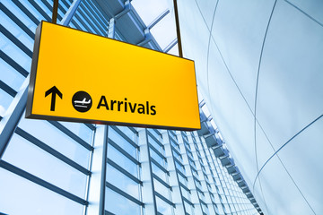 Wall Mural - Airport Departure & Arrival information sign..