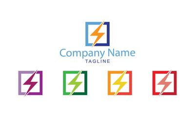 Electrical Logo Vector - Square Electric Design