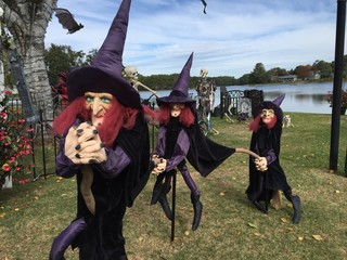 Row of witches on display on the occasion of Halloween near a river against a clear blue sky
