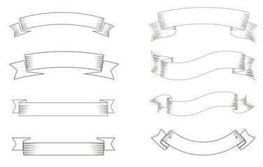 Hand drawn ribbon vintage style