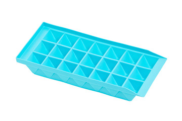Empty blue ice tray isolated on white.