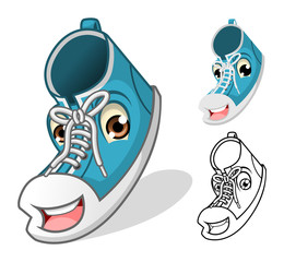 Shoes Mascot Cartoon Character Include Flat Design and Outlined Version Vector Illustration