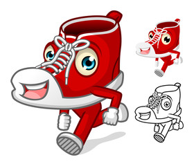 Shoes Mascot with Extremities Cartoon Character Include Flat Design and Outlined Version Vector Illustration