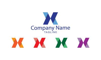 X Letter Logo Vector - X Letter Arrows Flat Folds Paper design
