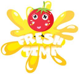 Fresh tomato on yellow splash