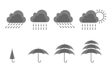 Rain and umbrella icon set