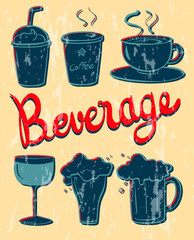 Different kind of beverage in vintage design