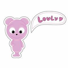 Pink funny cartoon bear says Hello