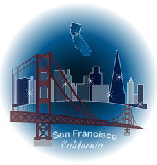 San Francisco blue skyline building sticker