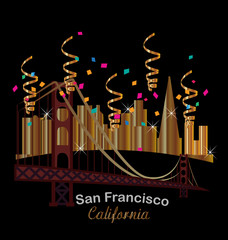 California skyline party city background vector