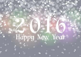 Happy New Year 2016 on Bokeh Light Gray Background