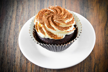 Cake with Cream, Cupcake on Woody Background