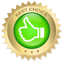 Best choice seal or icon with red banner and thumbs up symbol. Glossy golden seal or button with stars..