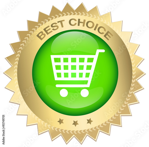 Best Choice Seal Or Icon With Red Banner And Shopping Car Symbol
