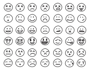 Collection of freehand drawing of emoticons.