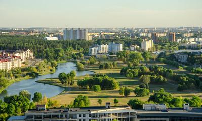 Панорама города. Вид сверху. Минск. Беларусь.