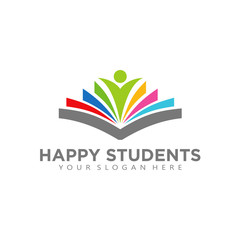 Digital Book Logo design vector Happy Student Library