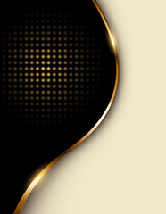 Business background beige and black with golden wave