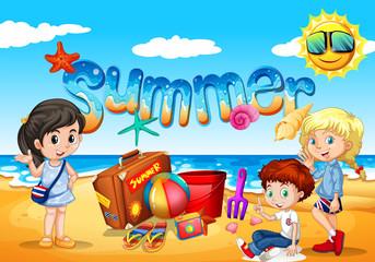 Children enjoy summer on the beach