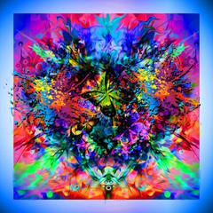 Абстрактный красочный яркий фон с бабочками