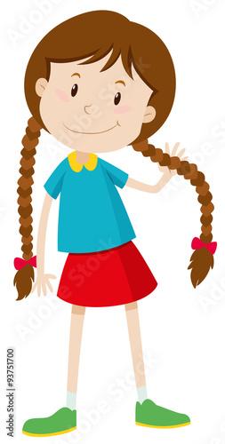 A cartoon girl with brown hair