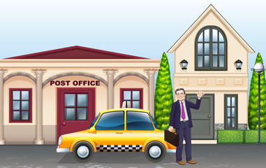 Man and taxi in front of post office
